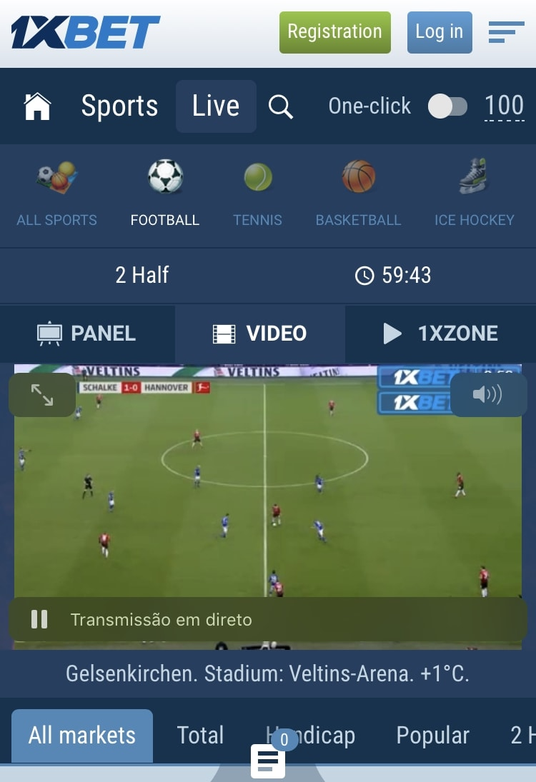 1xBet Live Mobile Application